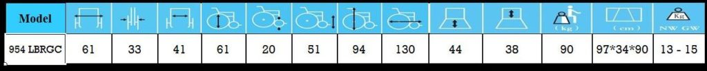 مشخصات ویلچر برانکاردی آلومینیومی 954