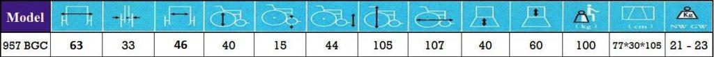 مشخصات ویلچر 957 طرح سی پی